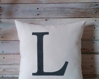 Personalized Letter Pillow Cover, Initial Pillow, Farmhouse Pillow, Accent Pillow Rustic Pillow Decorative Pillow Throw Pillow, Wedding Gift