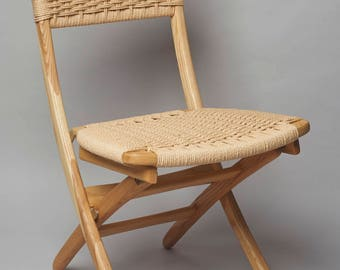 Hans Wegner style folding rope chair Ash wood