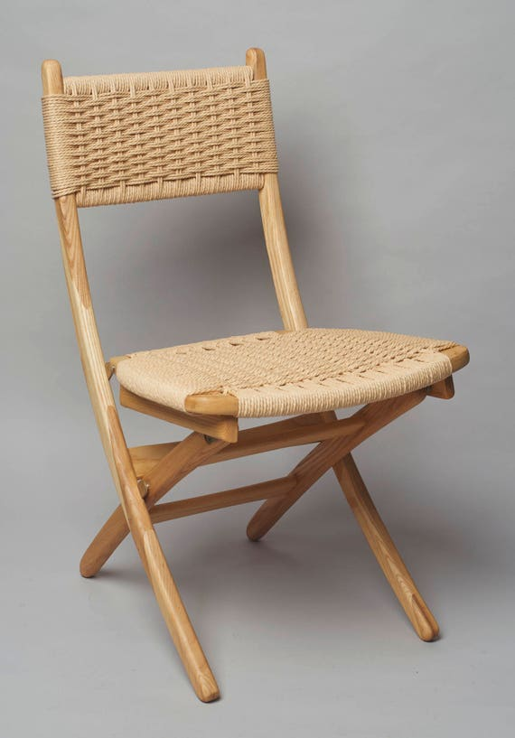 Superior Hans Wegner Style Folding Rope Chair Ash Wood