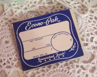 Vintage Dennison Gummed Labels-Ecno-Pak-Seals-Ephemera-10 pieces-New Old Stock