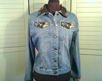 Upcycled Embellished Denim Jacket Black Woven Tapestry Rhinestone Trim Cottage Chic Casual Too She She Women's Size Medium M