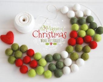 Felt Balls - Christmas Felt Balls #1 -100% Wool Felt Balls - 50 Wool Felt Balls - (18 - 20mm) - 2cm Felt Balls Christmas Garland - Felt poms