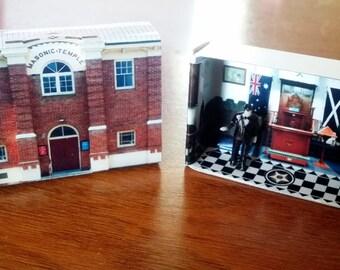 Matchbox Building: Matchbox Miniature of The Masonic Temple, Queanbeyan, Australia.