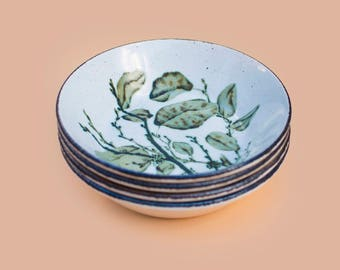 Midwinter Stonehenge 'Green Leaves' Dessert Plates (Set Of 4)