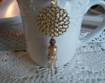 SUMMER 50%OFF SALE/Bohemian Long Gold Filigree Fringe Pearl Pendant, Necklace
