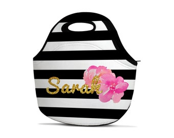 Personalized Lunch Bag - Monogram Lunch Bag - Gold Lunch Bag - Name Lunch Bag - Insulated Lunch Bag - Neoprene Lunch Bag - Striped Lunch Bag