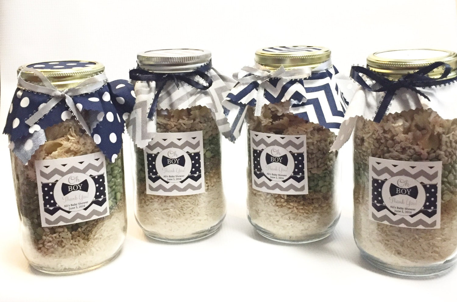Baby Boy Bow Tie Mason Jar Friendship Soup Mix Baby Shower