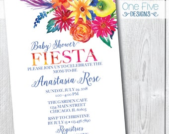 Baby Shower Fiesta Invitation- Floral Tropical Colorful Summer Watercolor - Printable (5x7)