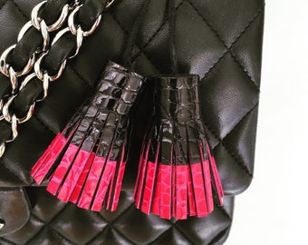 TASSEL leather pink,bag charm,leather,leather accessor ,croc,gift for her,valentine day,luxury,gift,key chain,liberty,leather craft