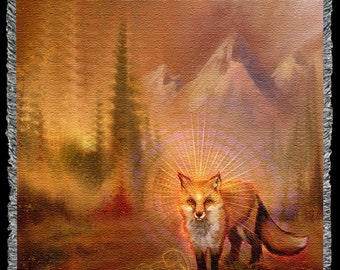 Wise Fox - Blanket. Totem Animal Inspired Visionary Art. Fox, Trickster symbol. Home Decor