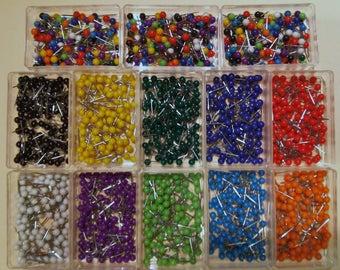 100 Map Pins Push Pins Travel Map Tacks World Travel Markers - Various Colors
