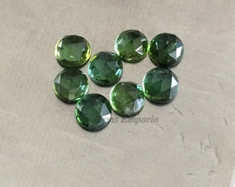 Green Tourmaline 4 mm Rose Cut Round Cabochons. African Origin. Good Color and Luster. Price per piece.