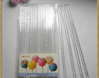 """100pcs 6"""" (15cm)  Clear Bubble Acrylic Sticks For Cake Pops Lollipop Candy"""