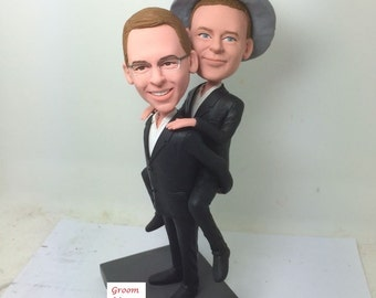 Gay Male Wedding Cake Topper Piggy Back Style Custom Wedding Topper Personalized Gay Wedding Bobble Head Topper Gay Male Wedding Gifts