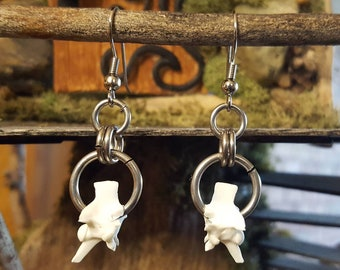 Rattlesnake Bone Vertebrae Earrings