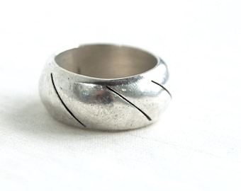 Wide Mexican Ring Band Size 9 Vintage Sterling Silver Diagonal Striped Band Thick Ring Unisex Jewelry