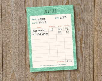 Invoice notepad for kids, weekly allowance