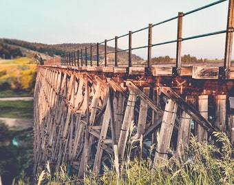 "train trestle, large art, large wall art, industrial wall art, large industrial art prints, photography prints, art - ""Spring Creek Trestle"""