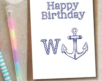 Funny Rude Birthday Card - W (anchor) W*nker
