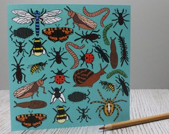 Bugs Birthday card - Blank card, Beetles, Butterfly, Ladybird, Ladybug, children's birthday, 'Creepy Crawlies' , print of hand drawn card