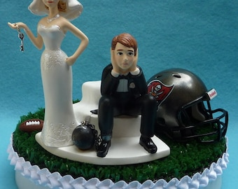 Wedding Cake Topper Tampa Bay Buccaneers TB Bucs Football Themed Ball and Chain Key Turf Topper w/ Bridal Garter Humorous Unique Top