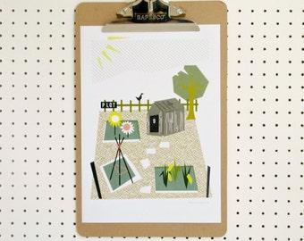 SALE Allotment Garden Gardening Grow Your Own Garden Shed Outdoors Allotmenteer Plot Print A4