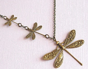 Brass Dragonfly Necklace - Dragonfly Jewelry, Nature Jewelry, Garden Jewelry