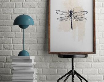 Dragonfly Print, Dragonfly Poster, Vintage Poster, Insect Print, Dragonfly Decor, Insect Art, Digital Print, Wall Art, VIntage Decor