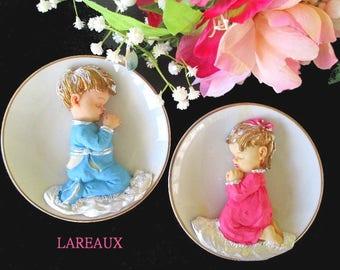 Praying Children Plates * Boy And Girl Plates *Set Of Two Decorative Plates * Child Decor * Vintage LAREAUX * Original Boxes