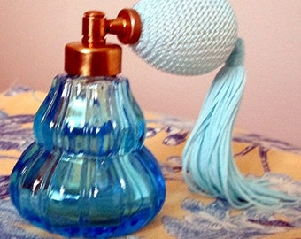 Gorgeous Vintage Irice Aqua Cut Glass Perfume Bottle with Stopper