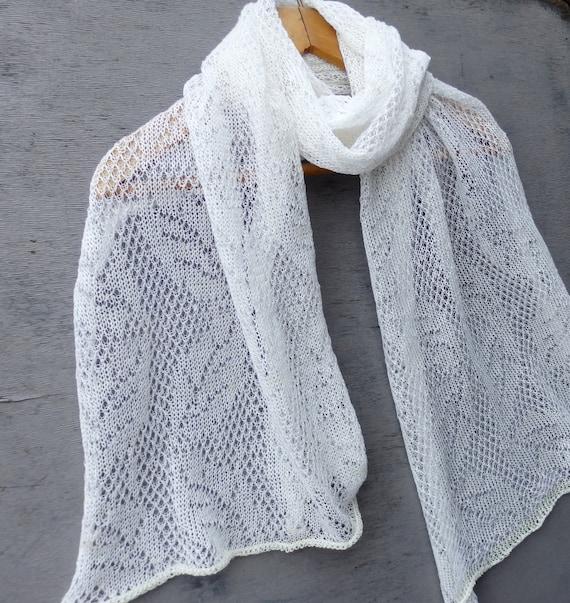 Schal stricken Leinen-Schal weißen Schal stricken Flachs