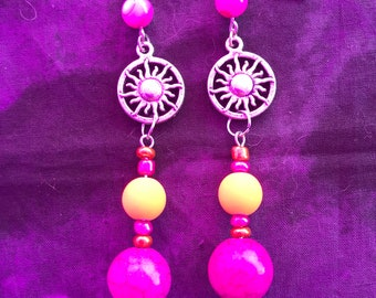 Purple/pink Gemstone earrings