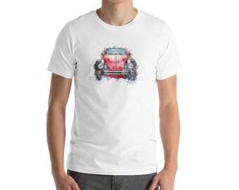 Vintage VW Beetle Red Car Unisex T-shirt, Vintage Volkswagen, Classic VW, VW Bug