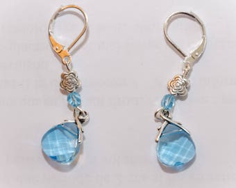 Light blue drop earrings Swarovski Crystal and Sterling Silver 925