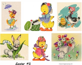 Easter 2 Digital Collage from Vintage Greeting Cards - Instant Download - Cut Outs