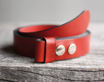 Red leather belt, Genuine leather snap belt, RED snap belt, Handmade leather belt, belt strap for buckle, gift for him, gift for her