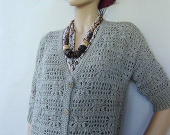 Alpaca Cardigan, Crochet Cardigan, Gray Cardigan, Cardigan Women, Cardigan Sweaters, Crochet Tops, Gift for Her, Available in sizes M and L