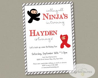 Ninja Party Invitation | Martial Arts Party, Karate Birthday | Instant Download TEMPLATE | Editable Text PDF
