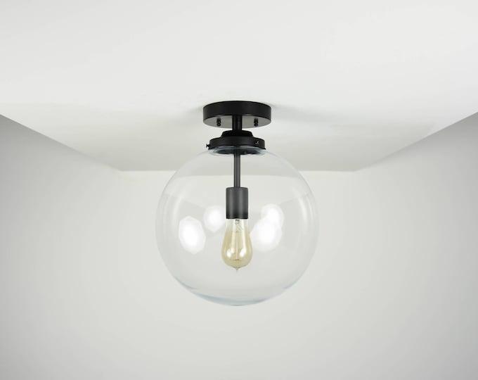 Claremont Semi Flush [Matte Black - Mid Century - Modern - Industrial - Single Light - Glass Globe - UL Listed]