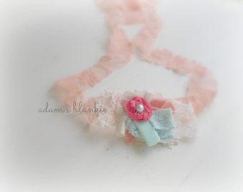 Corale - Tie Back Open Halo Headband Wrap - Peach Coral Aqua Mint Cream - Rosette Lace Pearl - Newborn Baby Girl Infant Adults - Photo Prop