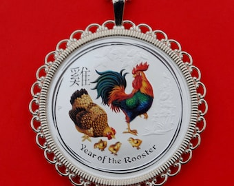 2017 Australia Lunar Chinese Rooster Year 1/2 oz .999 Fine Silver Round Colorized BU Uncirculated Coin 925 Sterling Silver Necklace NEW