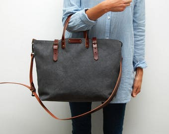 waxed canvas bag /tote bag/with leather handles and closures,charcoal color