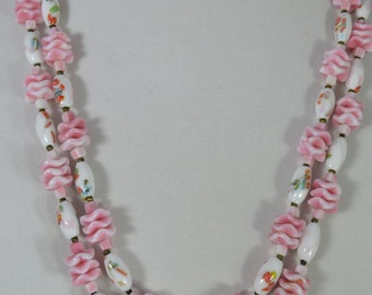 vintage antique lampwork art glass bead necklace Czechoslavakia ? Italian ? pink/Offer by poshparagons for you or to give as a gift