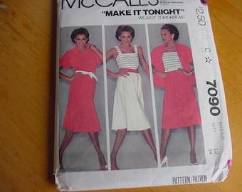 Vintage 1980s McCalls Pattern 7090, Misses Top, Camisole, Skirt, Size 12, Bust 34
