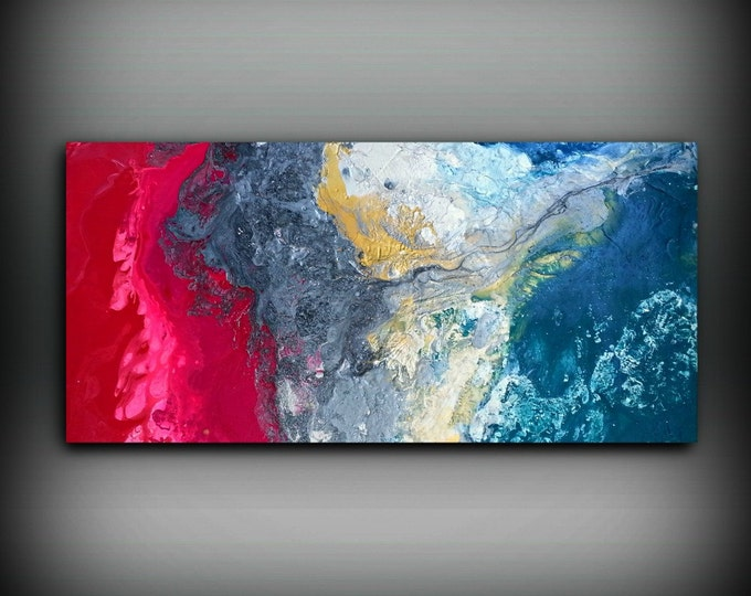 Magenta Painting 24 x48 Acrylic Painting Canvas Art Abstract Painting Contemporary Art Large Painting Extra Large Wall Art Hot Pink Painting