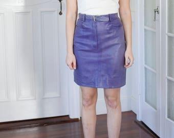 Rare Vintage Purple Leather Pencil Skirt