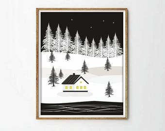 house print, white and blak, nordic print, nursery decor, nursery print, snow print, print illustration, living room art, wall art decor