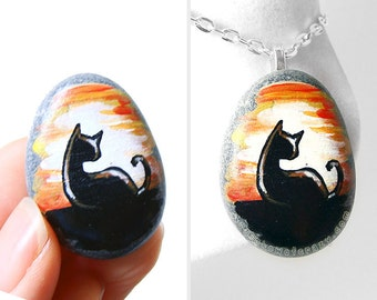 Cat Necklace, Pet Jewelry, Black Cat, Sunset Painting, Sunrise Art, Hand Painted Beach Stone, River Rock, Cat Owner Memorial Gift