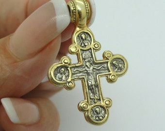 Sterling Silver & 24K Gold Plated Russian Orthodox Cross. Hand made massive cross. Gift!!!  (c p426)