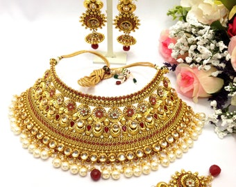 Handmade Polki kundan Mukut Bridal Necklace Set with Earrings and Tika Indian Jewellery One Gram Gold Plated Indian Jewelry